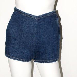 Blue Denim High-Waisted Cheeky Shorts